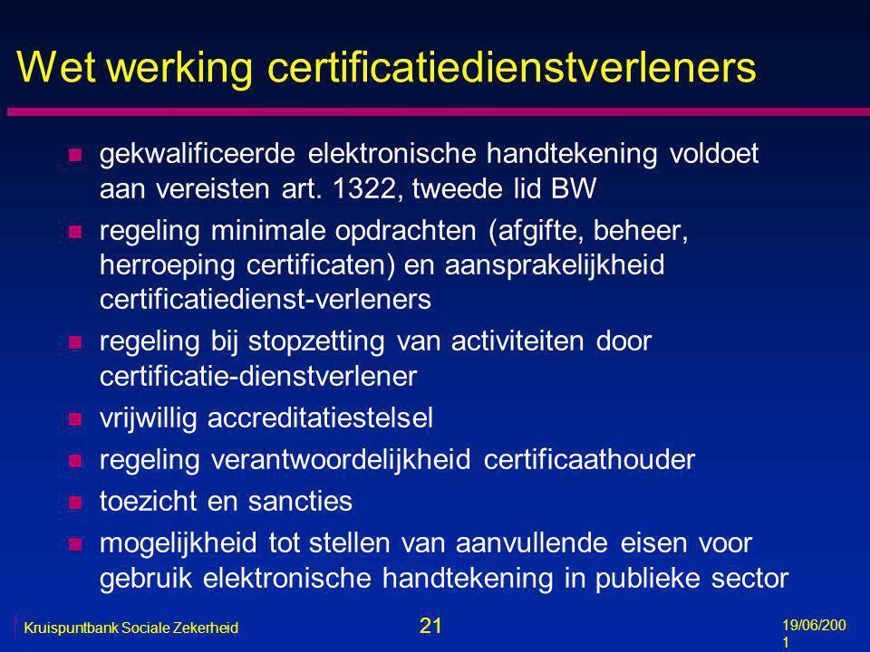 21 19/06/200 1 Kruispuntbank Sociale Zekerheid Wet werking certificatiedienstverleners n gekwalificeerde elektronische handtekening voldoet aan vereis