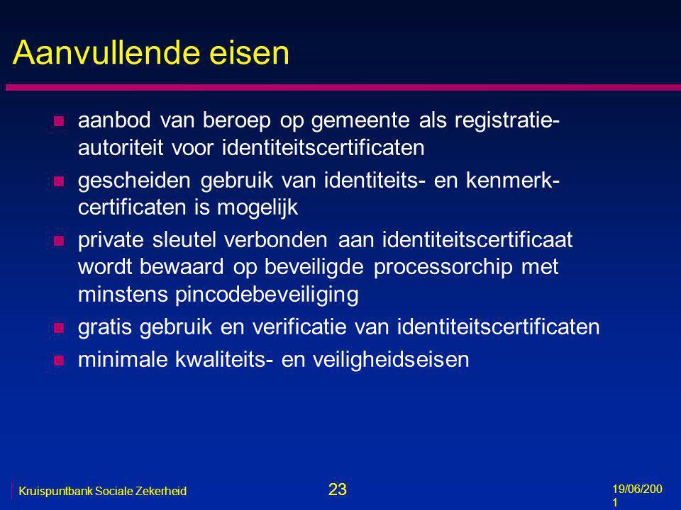 23 19/06/200 1 Kruispuntbank Sociale Zekerheid Aanvullende eisen n aanbod van beroep op gemeente als registratie- autoriteit voor identiteitscertifica