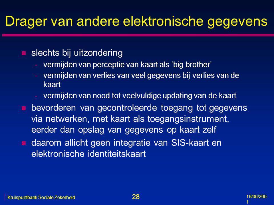 28 19/06/200 1 Kruispuntbank Sociale Zekerheid Drager van andere elektronische gegevens n slechts bij uitzondering -vermijden van perceptie van kaart