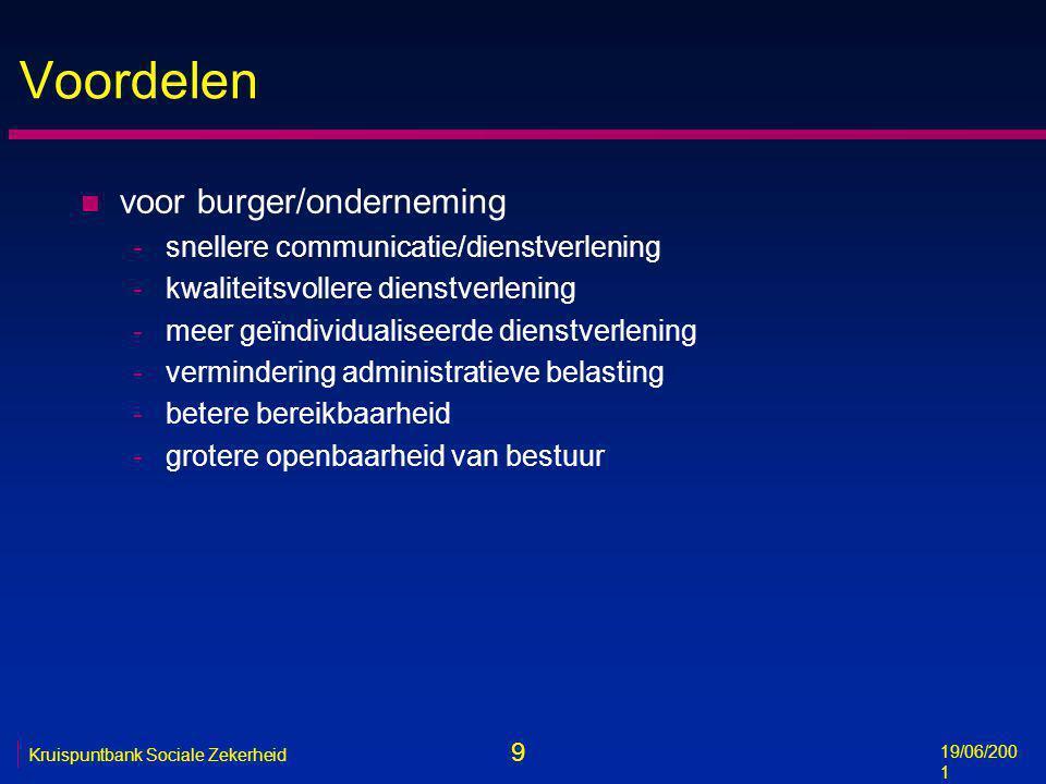 9 19/06/200 1 Kruispuntbank Sociale Zekerheid Voordelen n voor burger/onderneming -snellere communicatie/dienstverlening -kwaliteitsvollere dienstverl