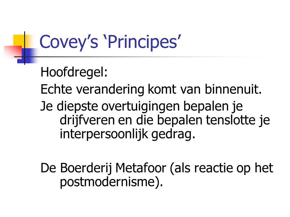 Covey's 'Principes' Hoofdregel: Echte verandering komt van binnenuit. Je diepste overtuigingen bepalen je drijfveren en die bepalen tenslotte je inter
