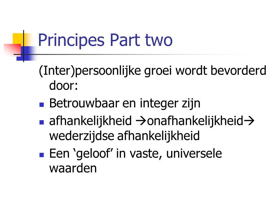 Principes Part two (Inter)persoonlijke groei wordt bevorderd door: Betrouwbaar en integer zijn afhankelijkheid  onafhankelijkheid  wederzijdse afhan