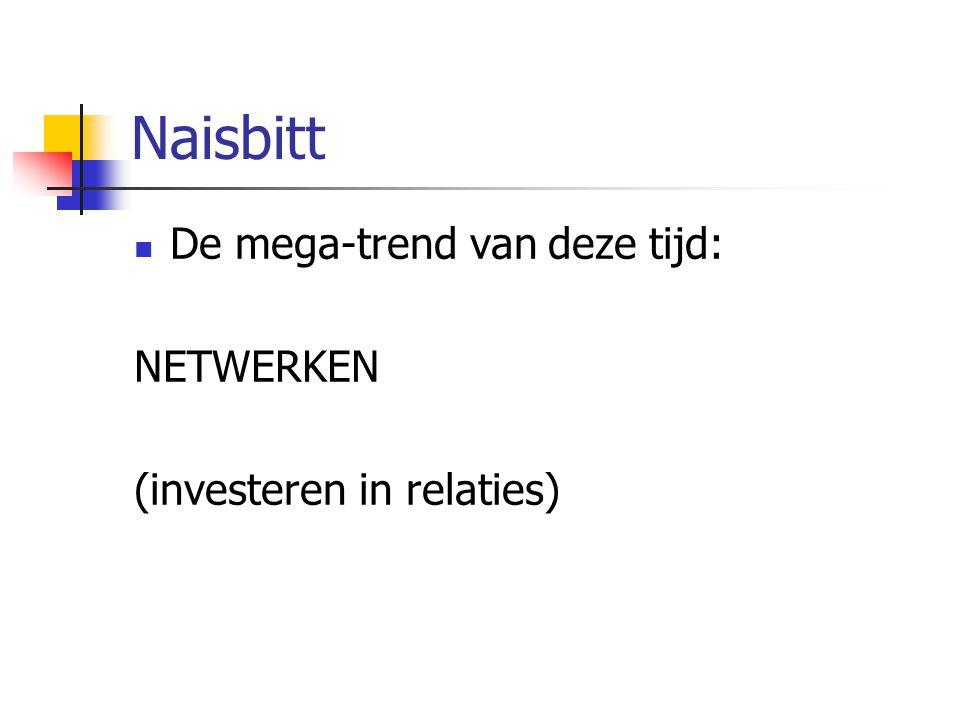 Naisbitt De mega-trend van deze tijd: NETWERKEN (investeren in relaties)