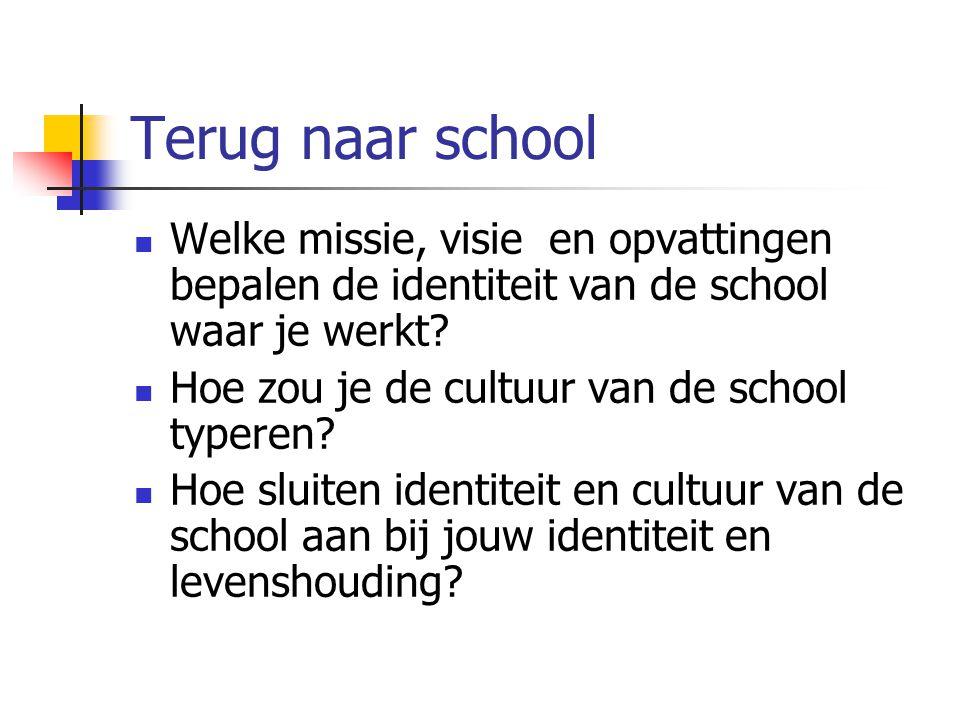 Terug naar school Welke missie, visie en opvattingen bepalen de identiteit van de school waar je werkt? Hoe zou je de cultuur van de school typeren? H