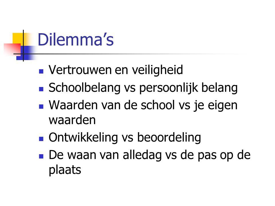 Dilemma's Vertrouwen en veiligheid Schoolbelang vs persoonlijk belang Waarden van de school vs je eigen waarden Ontwikkeling vs beoordeling De waan va