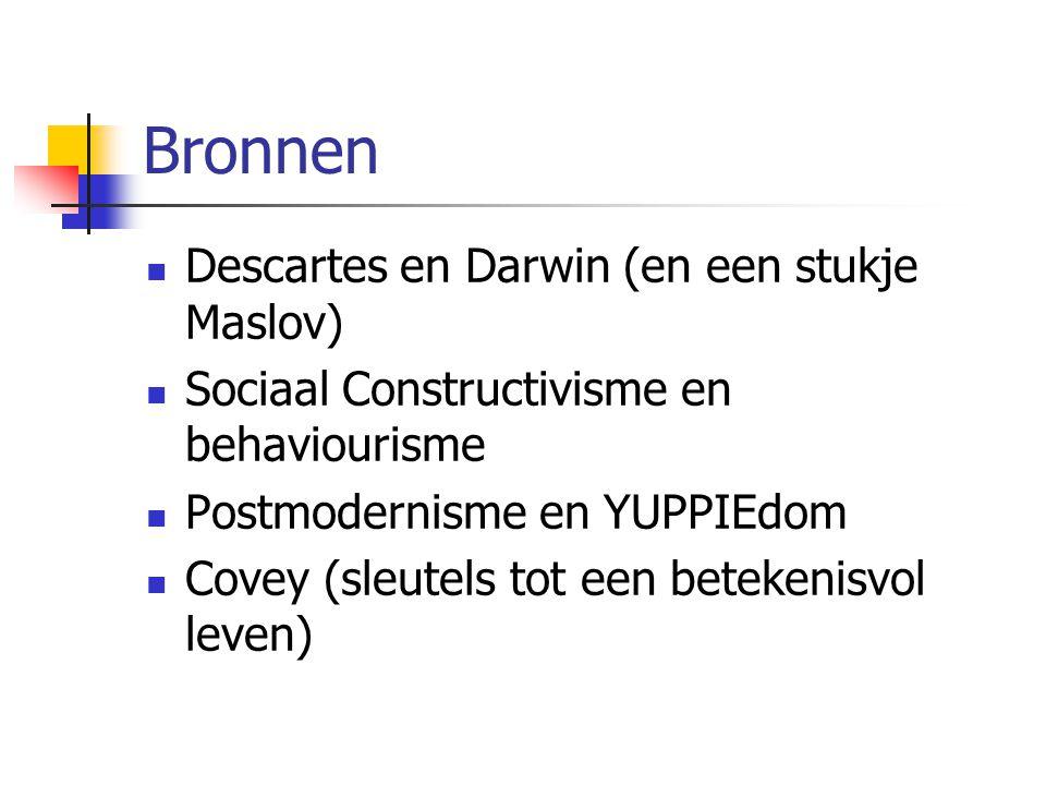 Bronnen Descartes en Darwin (en een stukje Maslov) Sociaal Constructivisme en behaviourisme Postmodernisme en YUPPIEdom Covey (sleutels tot een beteke