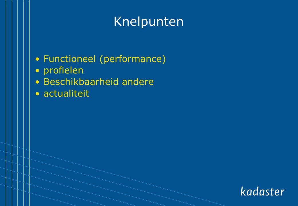 Knelpunten Functioneel (performance) profielen Beschikbaarheid andere actualiteit