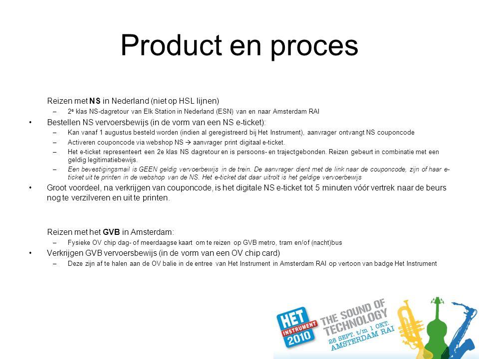 Product en proces Reizen met NS in Nederland (niet op HSL lijnen) –2 e klas NS-dagretour van Elk Station in Nederland (ESN) van en naar Amsterdam RAI Bestellen NS vervoersbewijs (in de vorm van een NS e-ticket): –Kan vanaf 1 augustus besteld worden (indien al geregistreerd bij Het Instrument), aanvrager ontvangt NS couponcode –Activeren couponcode via webshop NS  aanvrager print digitaal e-ticket.