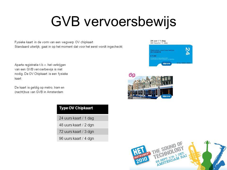 GVB vervoersbewijs Fysieke kaart in de vorm van een wegwerp OV chipkaart Standaard uiterlijk; gaat in op het moment dat voor het eerst wordt ingecheckt; Aparte registratie t.b.v.