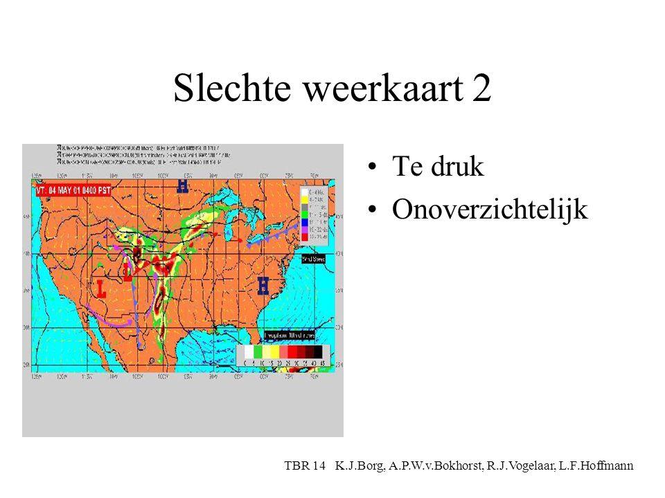 Slechte weerkaart 1 Te weinig info Te ongedetailleerd TBR 14 K.J.Borg, A.P.W.v.Bokhorst, R.J.Vogelaar, L.F.Hoffmann