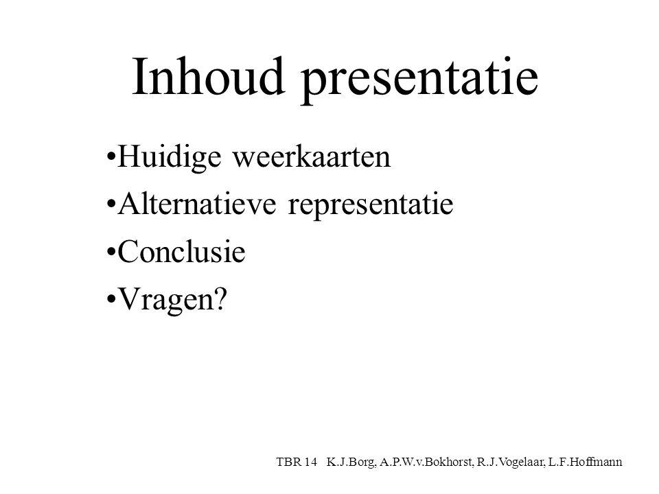 Inhoud presentatie Huidige weerkaarten Alternatieve representatie Conclusie Vragen.