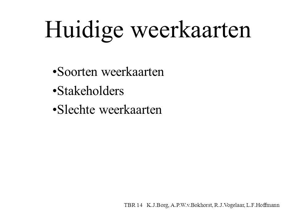 Huidige weerkaarten Soorten weerkaarten Stakeholders Slechte weerkaarten TBR 14 K.J.Borg, A.P.W.v.Bokhorst, R.J.Vogelaar, L.F.Hoffmann