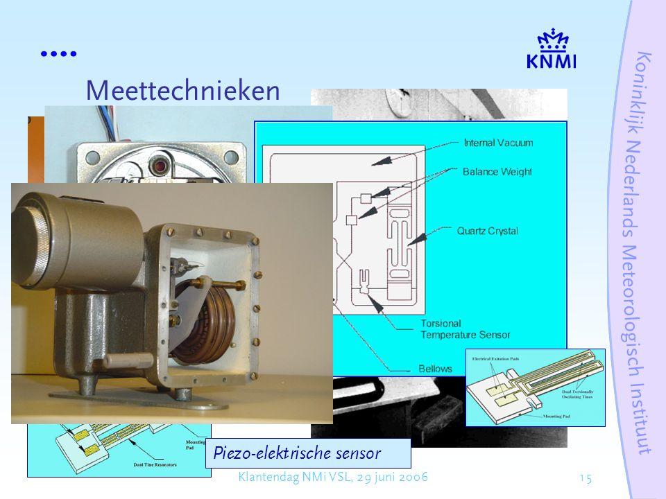 15Klantendag NMi VSL, 29 juni 2006 Meettechnieken Piezo-elektrische sensor
