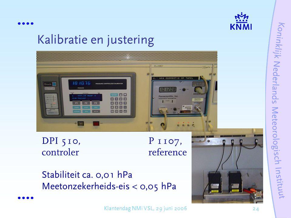 24Klantendag NMi VSL, 29 juni 2006 Kalibratie en justering DPI 510, controler P 1107, reference Stabiliteit ca.