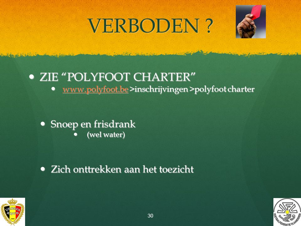 """CATERING-KAARTEN """"Polyfoot cool down are(n)a"""" VVK aan 10 € per kaart (ter plaatse: 12 €) max. 1 kaarten per speler in voorverkoop ! Enkel voor de spel"""