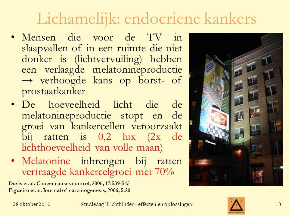 28 oktober 201013 Studiedag 'Lichthinder – effecten en oplossingen' Mensen die voor de TV in slaapvallen of in een ruimte die niet donker is (lichtver