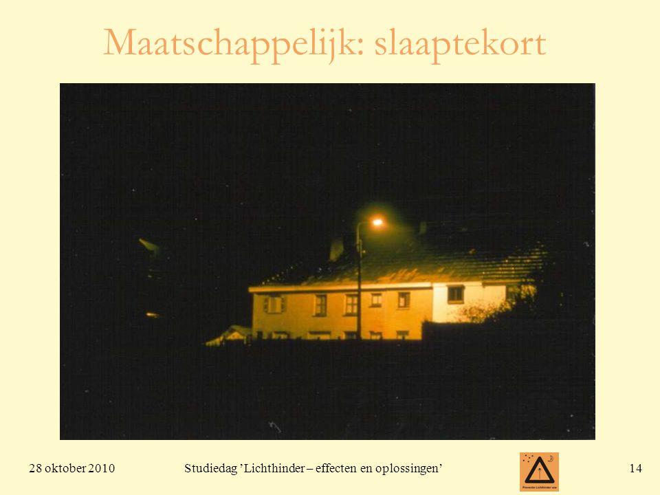 28 oktober 201014 Studiedag 'Lichthinder – effecten en oplossingen' Maatschappelijk: slaaptekort