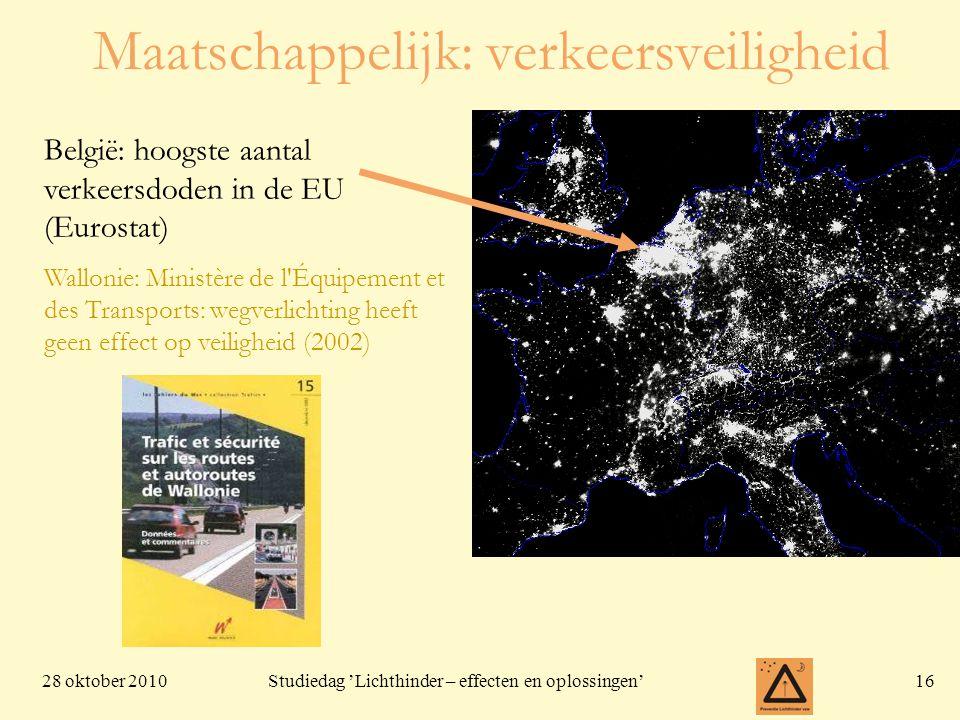 28 oktober 201016 Studiedag 'Lichthinder – effecten en oplossingen' België: hoogste aantal verkeersdoden in de EU (Eurostat) Wallonie: Ministère de l Équipement et des Transports: wegverlichting heeft geen effect op veiligheid (2002) Maatschappelijk: verkeersveiligheid