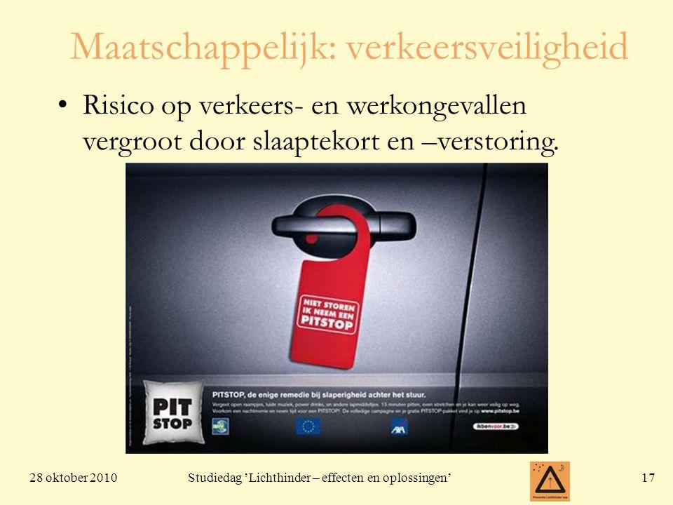 28 oktober 201017 Studiedag 'Lichthinder – effecten en oplossingen' Maatschappelijk: verkeersveiligheid Risico op verkeers- en werkongevallen vergroot door slaaptekort en –verstoring.