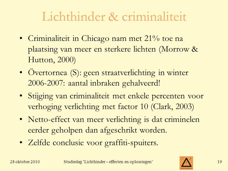 28 oktober 201019 Studiedag 'Lichthinder – effecten en oplossingen' Lichthinder & criminaliteit Criminaliteit in Chicago nam met 21% toe na plaatsing