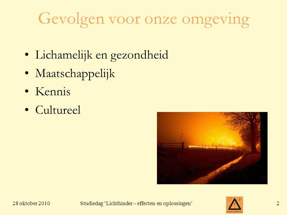 28 oktober 20102 Studiedag 'Lichthinder – effecten en oplossingen' Gevolgen voor onze omgeving Lichamelijk en gezondheid Maatschappelijk Kennis Cultur