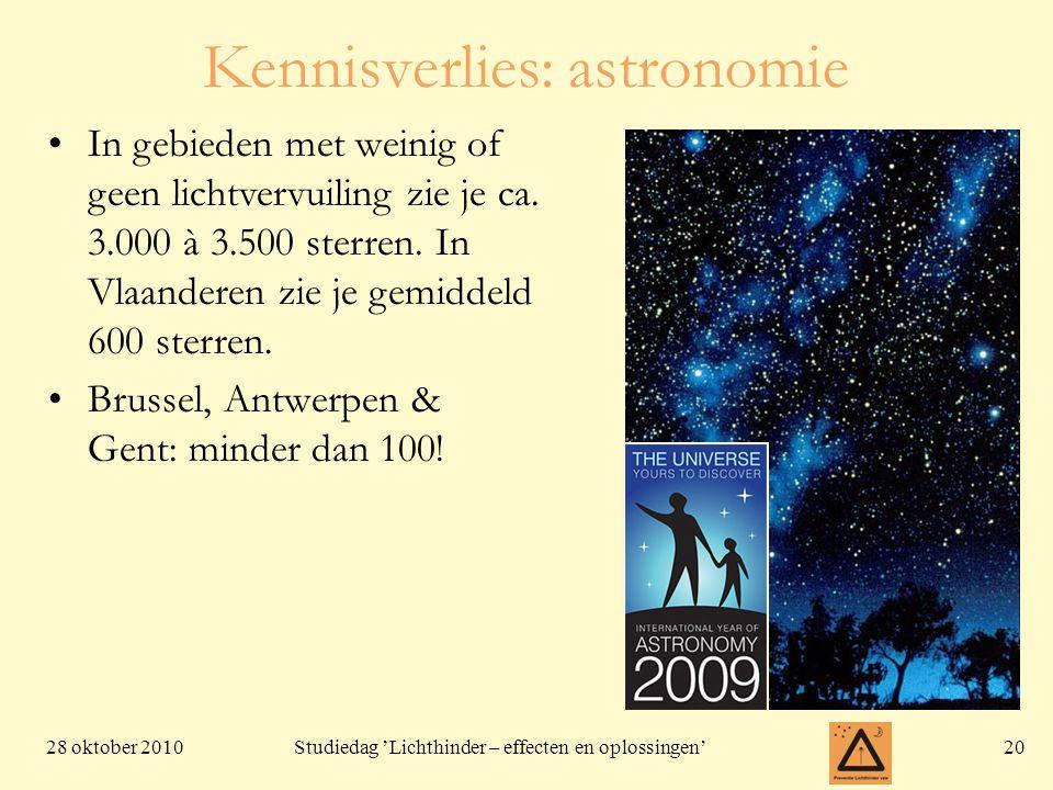 28 oktober 201020 Studiedag 'Lichthinder – effecten en oplossingen' In gebieden met weinig of geen lichtvervuiling zie je ca. 3.000 à 3.500 sterren. I