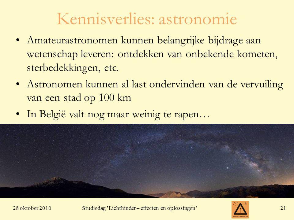 28 oktober 201021 Studiedag 'Lichthinder – effecten en oplossingen' Amateurastronomen kunnen belangrijke bijdrage aan wetenschap leveren: ontdekken van onbekende kometen, sterbedekkingen, etc.