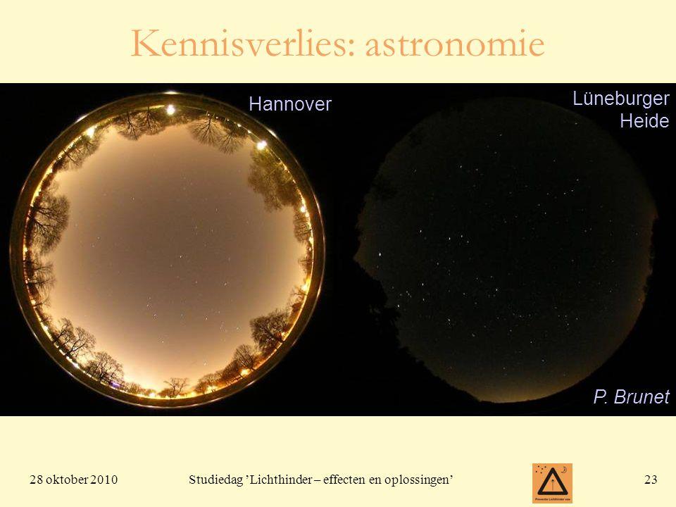 28 oktober 201023 Studiedag 'Lichthinder – effecten en oplossingen' Hannover Lüneburger Heide P. Brunet Kennisverlies: astronomie