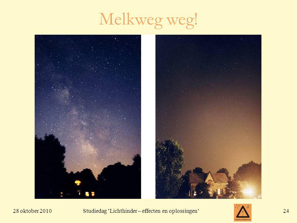 28 oktober 201024 Studiedag 'Lichthinder – effecten en oplossingen' Melkweg weg!