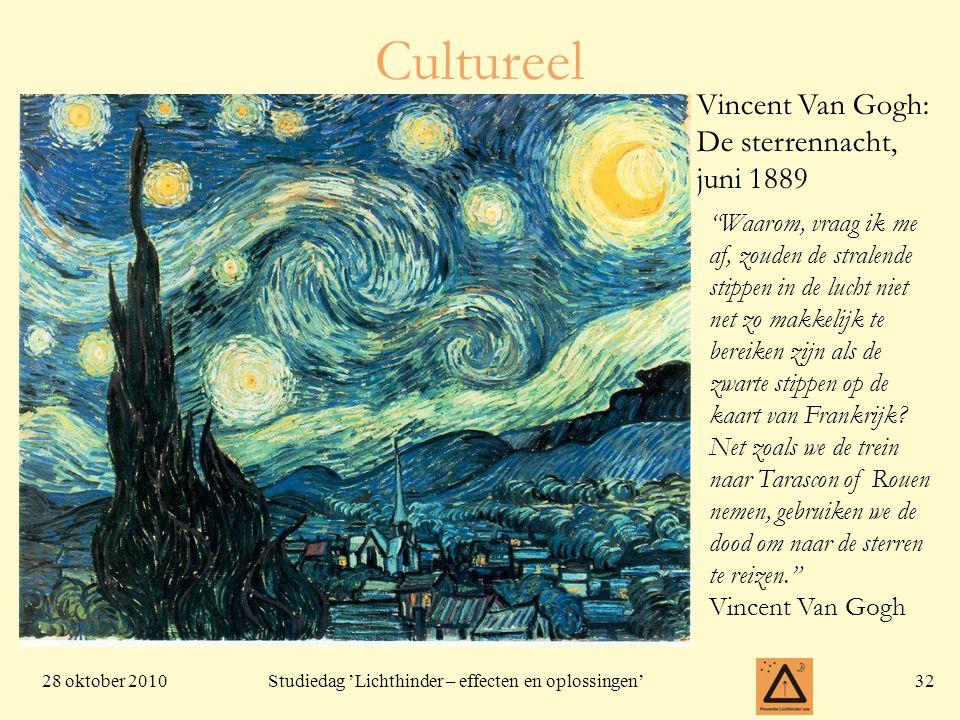 28 oktober 201032 Studiedag 'Lichthinder – effecten en oplossingen' Cultureel Vincent Van Gogh: De sterrennacht, juni 1889 Waarom, vraag ik me af, zouden de stralende stippen in de lucht niet net zo makkelijk te bereiken zijn als de zwarte stippen op de kaart van Frankrijk.