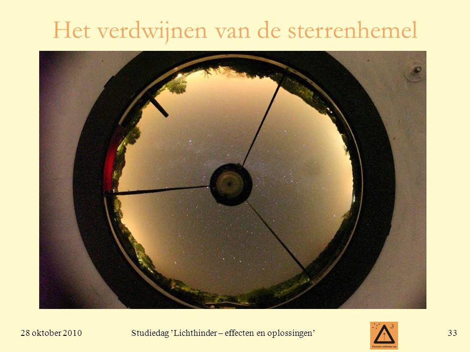 28 oktober 201033 Studiedag 'Lichthinder – effecten en oplossingen' Het verdwijnen van de sterrenhemel