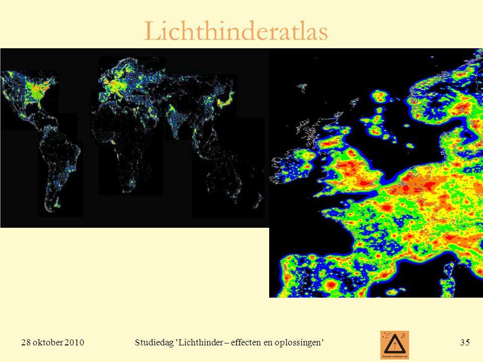 28 oktober 201035 Studiedag 'Lichthinder – effecten en oplossingen' Lichthinderatlas