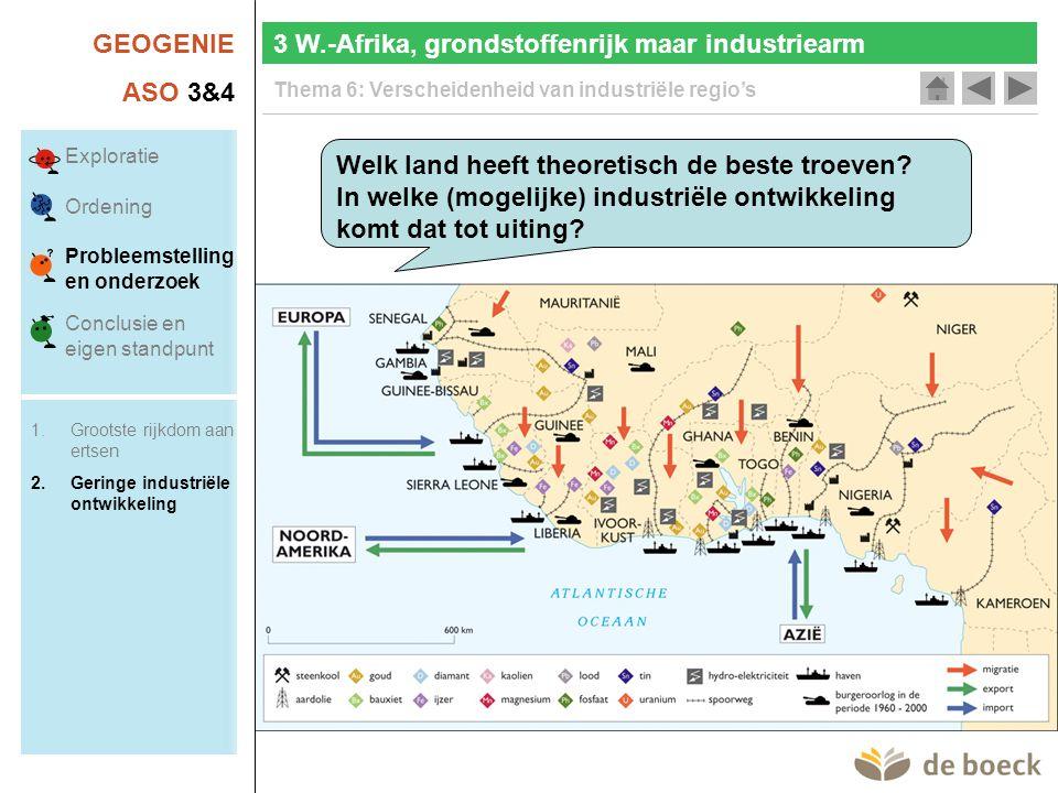 GEOGENIE ASO 3&4 Thema 6: Verscheidenheid van industriële regio's 3 W.-Afrika, grondstoffenrijk maar industriearm Welk land heeft theoretisch de beste troeven.