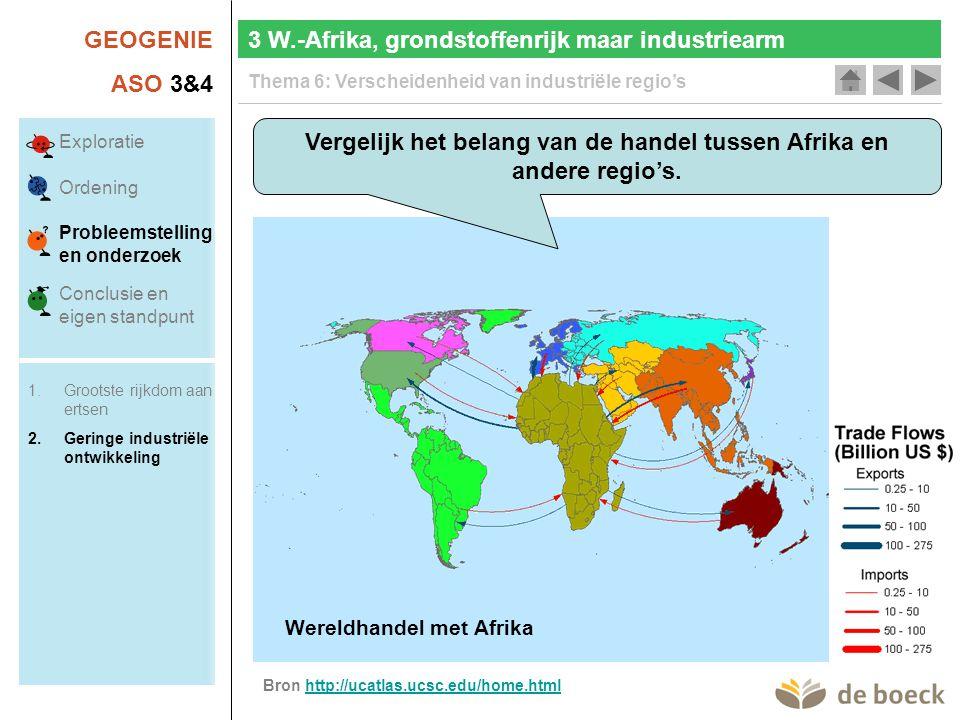 GEOGENIE ASO 3&4 Thema 6: Verscheidenheid van industriële regio's 3 W.-Afrika, grondstoffenrijk maar industriearm Wereldhandel met de VSWereldhandel met EuropaWereldhandel met Latijns-AmerikaWereldhandel met ChinaWereldhandel met Afrika Vergelijk het belang van de handel tussen Afrika en andere regio's.