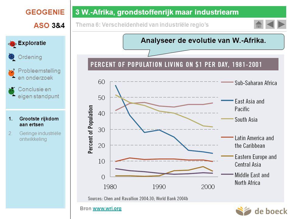 GEOGENIE ASO 3&4 Thema 6: Verscheidenheid van industriële regio's 3 W.-Afrika, grondstoffenrijk maar industriearm Analyseer de evolutie van W.-Afrika.