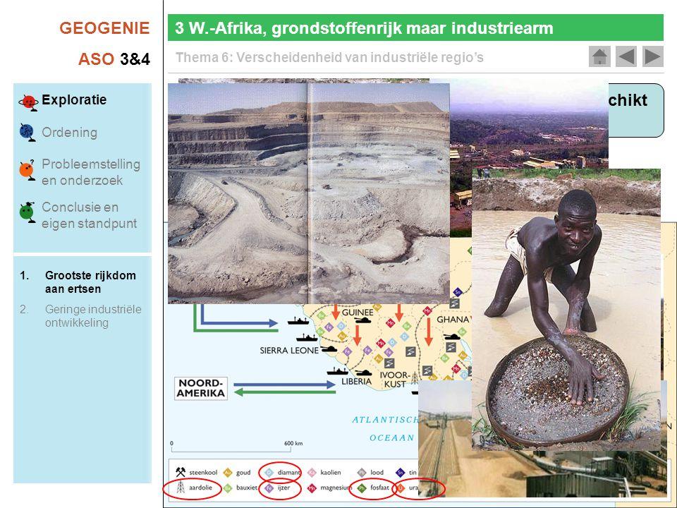 GEOGENIE ASO 3&4 Thema 6: Verscheidenheid van industriële regio's 3 W.-Afrika, grondstoffenrijk maar industriearm Over welke economische troeven beschikt W.-Afrika.