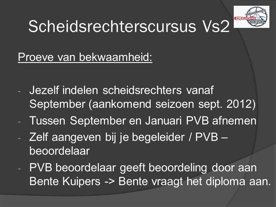 Scheidsrechterscursus Vs2 Proeve van bekwaamheid: - Jezelf indelen scheidsrechters vanaf September (aankomend seizoen sept.