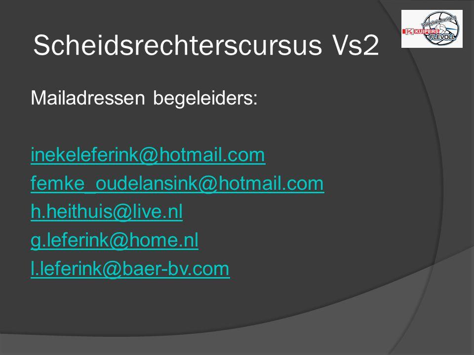 Scheidsrechterscursus Vs2 Mailadressen begeleiders: inekeleferink@hotmail.com femke_oudelansink@hotmail.com h.heithuis@live.nl g.leferink@home.nl l.leferink@baer-bv.com