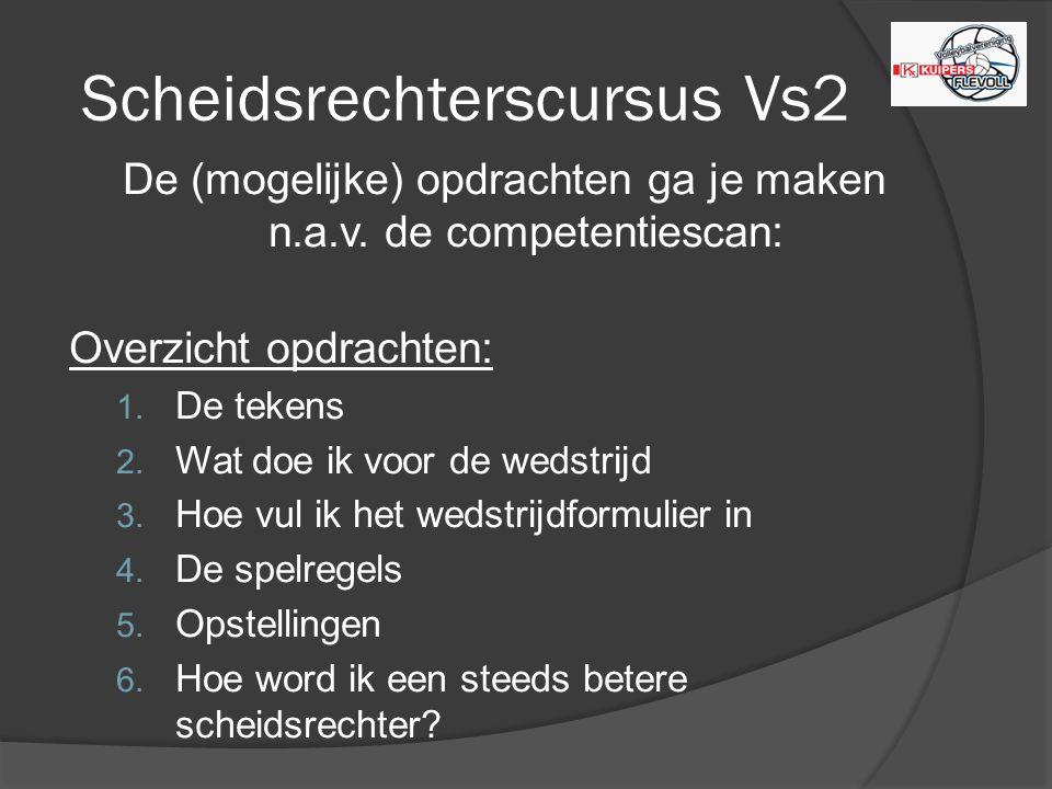 Scheidsrechterscursus Vs2 De (mogelijke) opdrachten ga je maken n.a.v.