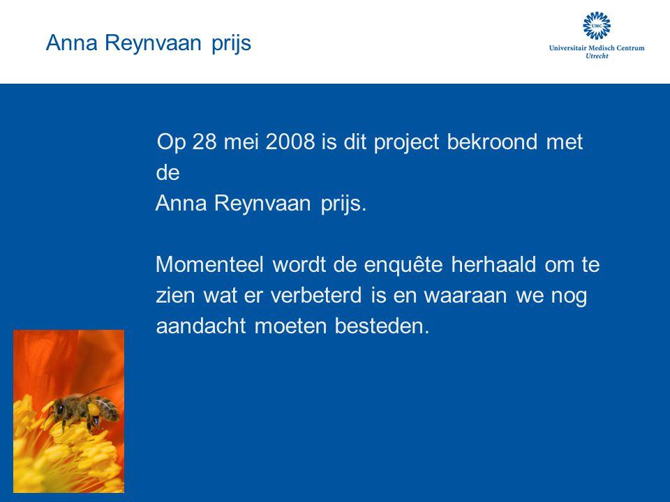 Anna Reynvaan prijs Op 28 mei 2008 is dit project bekroond met de Anna Reynvaan prijs. Momenteel wordt de enquête herhaald om te zien wat er verbeterd