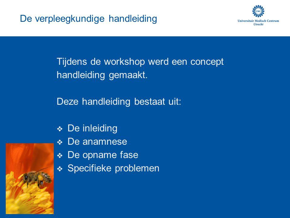 De verpleegkundige handleiding Tijdens de workshop werd een concept handleiding gemaakt. Deze handleiding bestaat uit:  De inleiding  De anamnese 