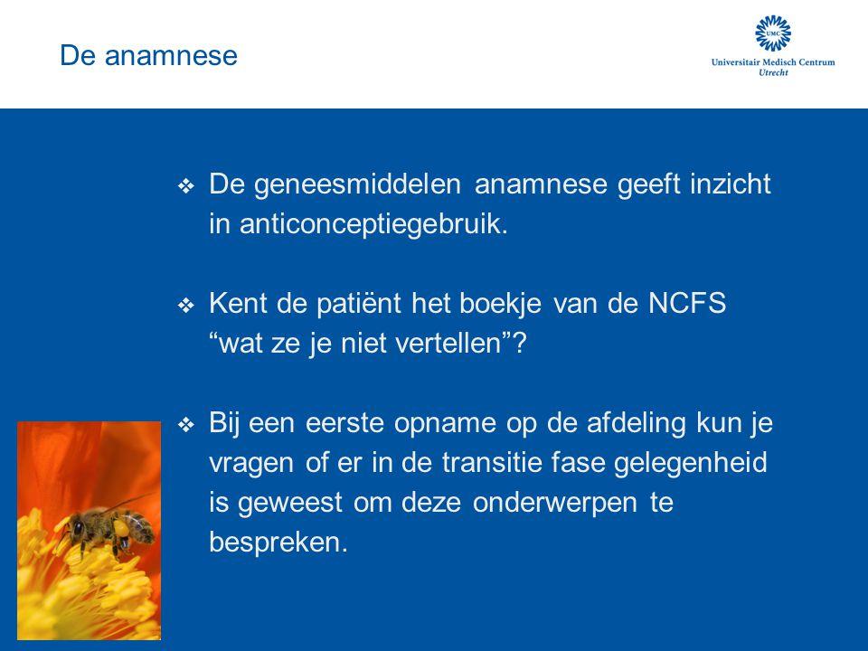 """De anamnese  De geneesmiddelen anamnese geeft inzicht in anticonceptiegebruik.  Kent de patiënt het boekje van de NCFS """"wat ze je niet vertellen""""? """