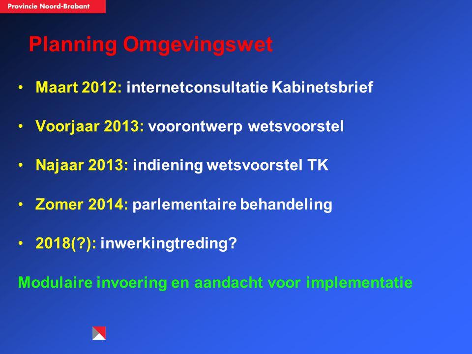 Planning Omgevingswet Maart 2012: internetconsultatie Kabinetsbrief Voorjaar 2013: voorontwerp wetsvoorstel Najaar 2013: indiening wetsvoorstel TK Zomer 2014: parlementaire behandeling 2018( ): inwerkingtreding.