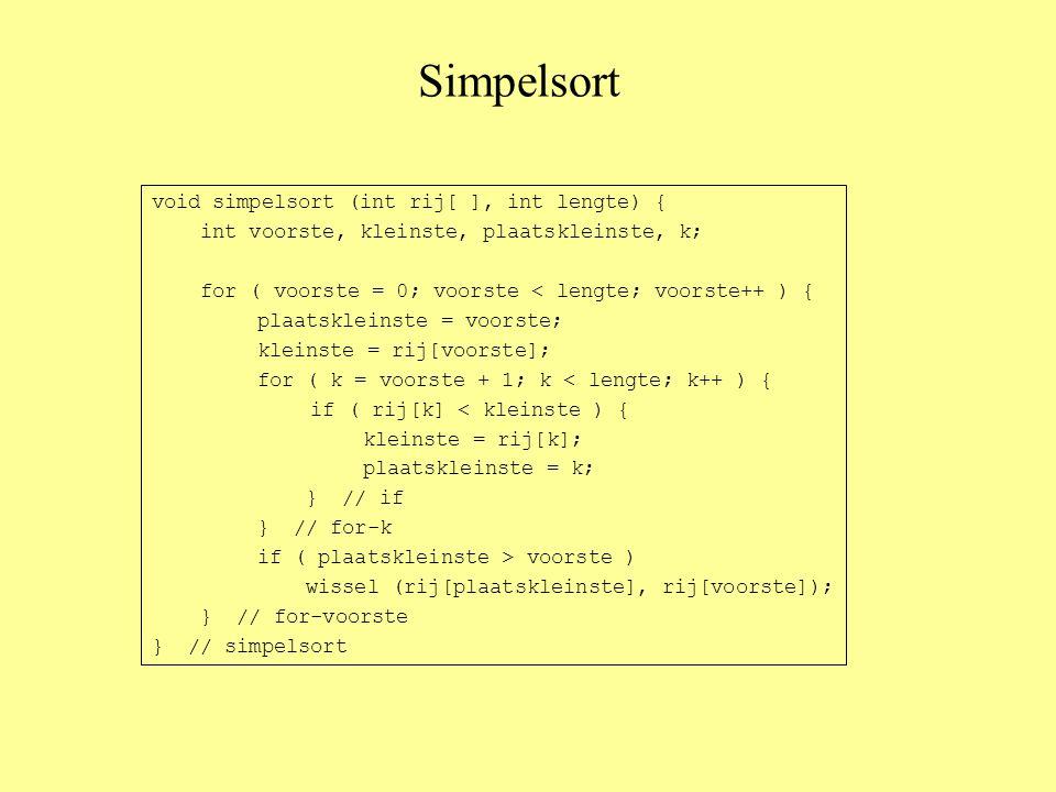 Simpelsort void simpelsort (int rij[ ], int lengte) { int voorste, kleinste, plaatskleinste, k; for ( voorste = 0; voorste < lengte; voorste++ ) { plaatskleinste = voorste; kleinste = rij[voorste]; for ( k = voorste + 1; k < lengte; k++ ) { if ( rij[k] < kleinste ) { kleinste = rij[k]; plaatskleinste = k; } // if } // for-k if ( plaatskleinste > voorste ) wissel (rij[plaatskleinste], rij[voorste]); } // for-voorste } // simpelsort