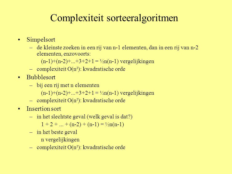 Complexiteit sorteeralgoritmen Simpelsort –de kleinste zoeken in een rij van n-1 elementen, dan in een rij van n-2 elementen, enzovoorts: (n-1)+(n-2)+...+3+2+1 = ½n(n-1) vergelijkingen –complexiteit O(n²): kwadratische orde Bubblesort –bij een rij met n elementen (n-1)+(n-2)+...+3+2+1 = ½n(n-1) vergelijkingen –complexiteit O(n²): kwadratische orde Insertion sort –in het slechtste geval (welk geval is dat?) 1 + 2 +...