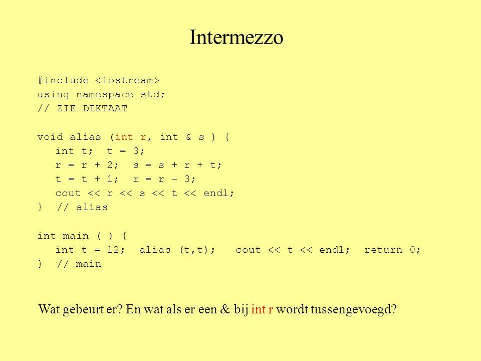 Insertion sort void invoegsorteer (int A[ ], int n) { int i, // i-de element straks steeds invoegen j, // om reeds gesorteerde stuk af te lopen temp; // om tijdelijk tussen te voegen getal te bevatten for ( i = 1; i < n; i++ ) { // voeg A[i] in op juiste plaats temp = A[i]; j = i - 1; while ( ( j >= 0 ) && ( A[j] > temp ) ) { A[j+1] = A[j]; j--; } // while A[j+1] = temp; } // for } // invoegsorteer Variant:maak een nieuwe (lege) rij en voeg elk element op de juiste plaats tussen