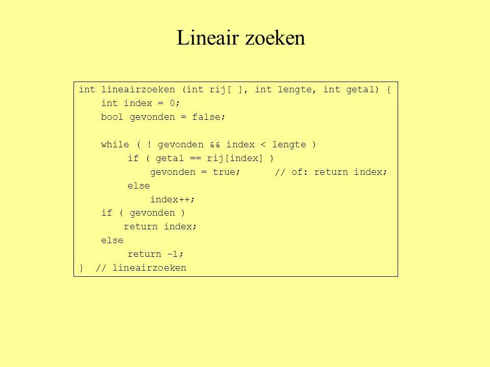 Lineair zoeken int lineairzoeken (int rij[ ], int lengte, int getal) { int index = 0; bool gevonden = false; while ( .