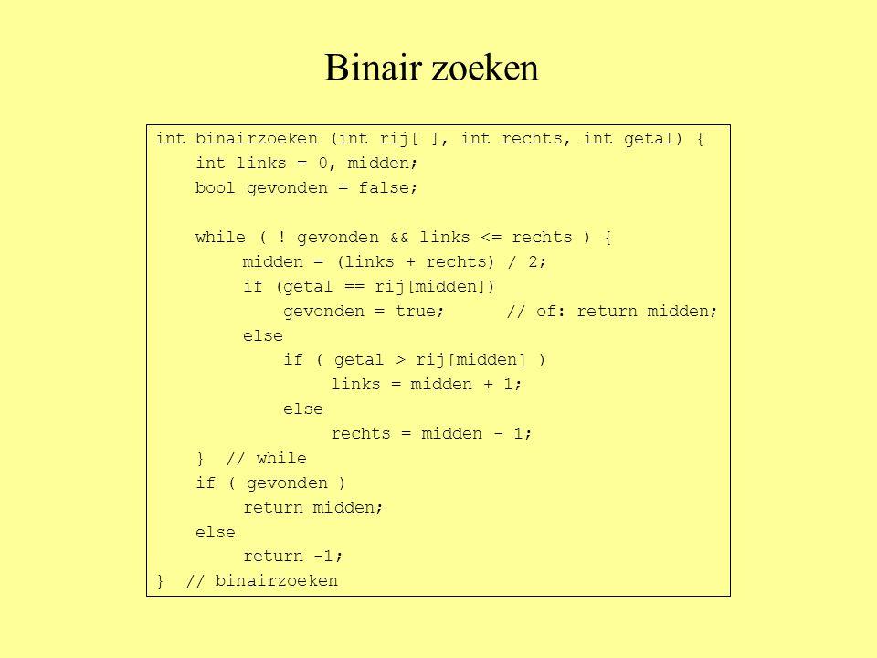 Binair zoeken int binairzoeken (int rij[ ], int rechts, int getal) { int links = 0, midden; bool gevonden = false; while ( .