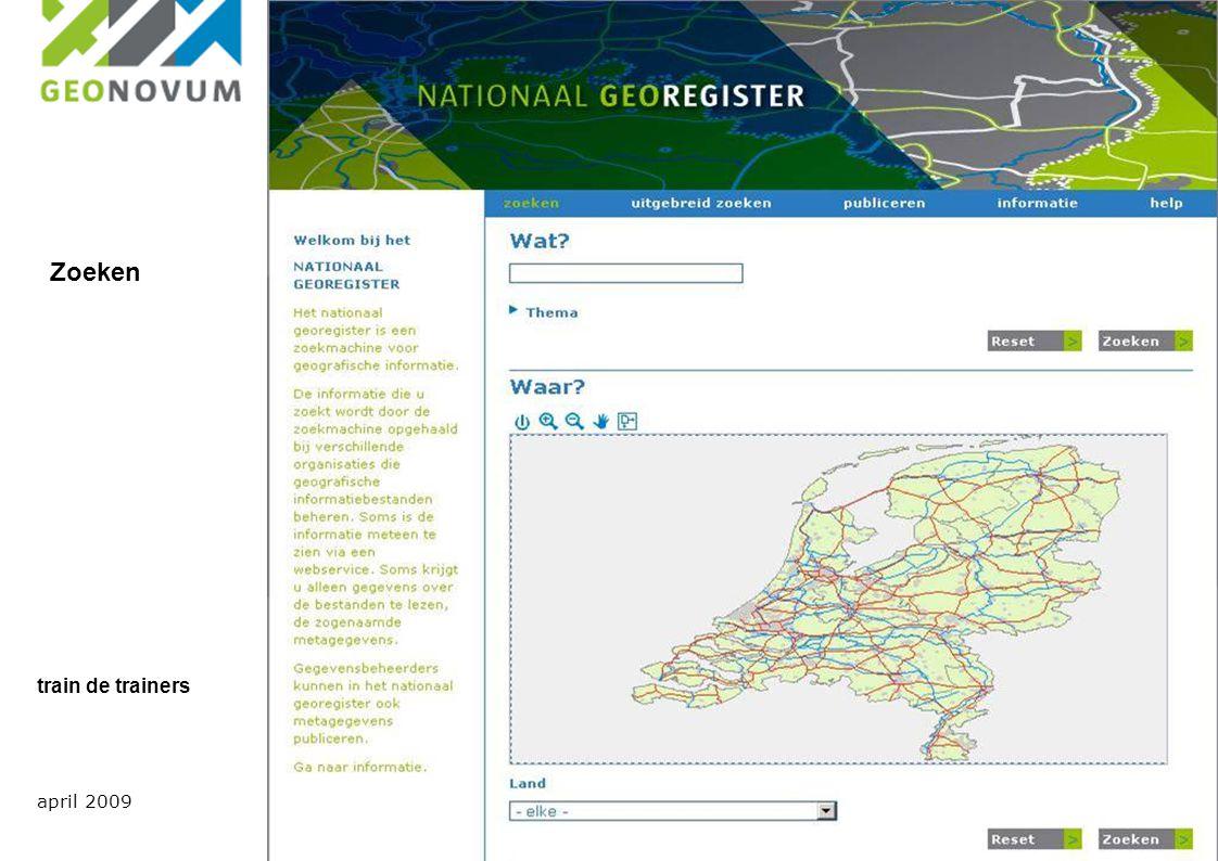 Uitgangspunten;  Framework voor standaarden  informatiemodellen  Nederlandse metadata standaard voor geografie  WMS profiel  Metadata voor services april 2009 train de trainers