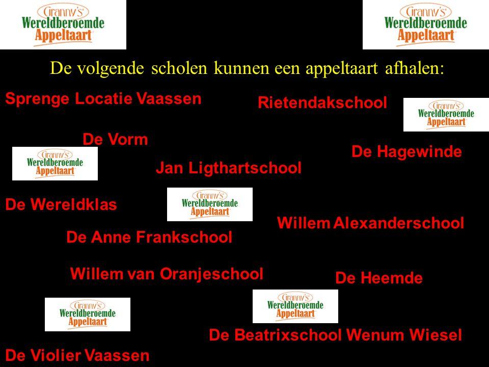 De volgende scholen kunnen een appeltaart afhalen: Sprenge Locatie Vaassen Rietendakschool De Vorm De Anne Frankschool Jan Ligthartschool De Hagewinde